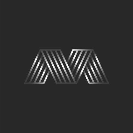 Letter M 3d logo creative monogram, initials MV or VM striped typography design element, business card emblem, metallic gradient thin lines