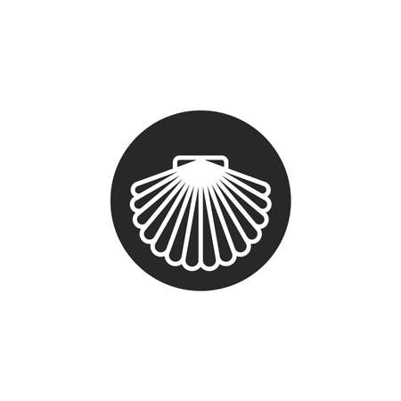 Scallop shell of round shape, shellfish delicacy silhouette in thin lines minimalist style, emblem for the menu of the seafood restaurant. 일러스트
