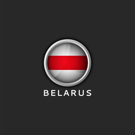 Belarusian white red white flag Belarus round 3d icon Illustration
