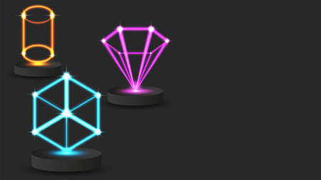 Hologram innovative game technology 3d geometric shapes wireframe on pedestal dark horizontal tech background, bright neon glow