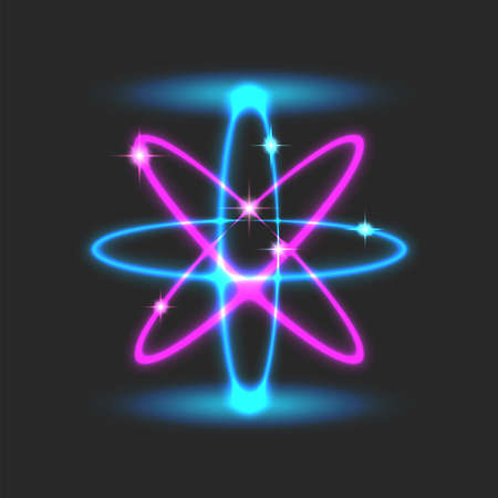 Orbital futuristic scientific atomic structure model, glowing blue pink neon design with sparks and energy lines