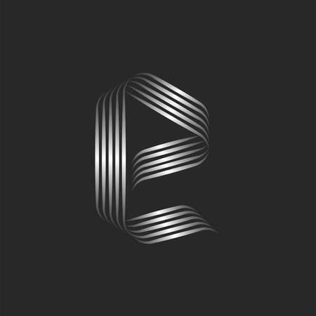 Small letter e monogram minimal style with curls, weaving metallic gradient stripes from smooth parallel thin lines, rounded decor calligraphic element