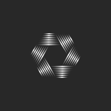 Photographer  abstract lens aperture hexagon shape, creative emblem for photo studio, visual effect from metallic gradient lines.
