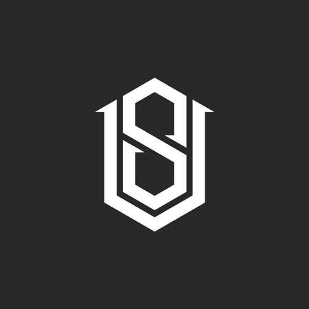 Monogram VS versus SV initials  mockup, combination two letters V and S, hipster emblem Ilustrace