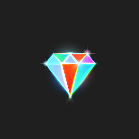 Diamond  is a bright gem with colorful facets and sparks, creative emblem for a glamorous jewelry store or workshop. Ilustracja