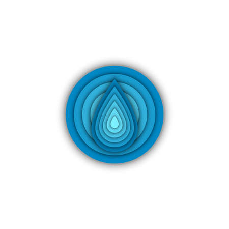 Water drop round shape logo eco sticker, creative aqua emblem, blue gradient with 3d effect.