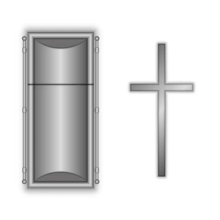 Closed coffin and catholic cross gray color realistic 3d vector model isolated on white background top view. Illustration