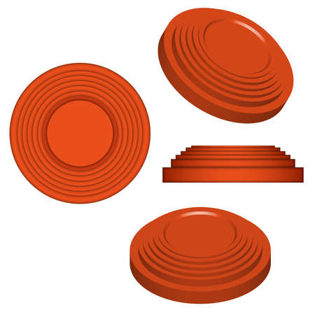 Clay targets isolated on white, orange plates for clay pigeon shooting, 3d vector model isometric shape.