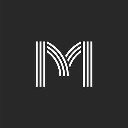 Monogram letter M offset thin parallel lines minimal design, linear creative business card emblem