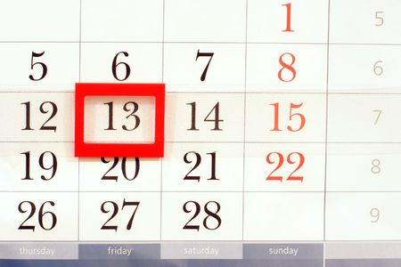 superstitions: calendar with mystic date friday 13