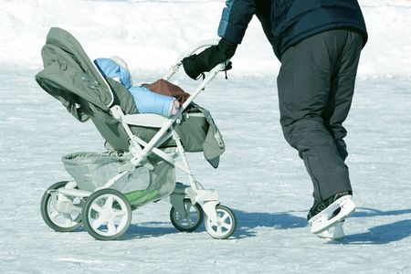 the stroller on the skating-rink photo
