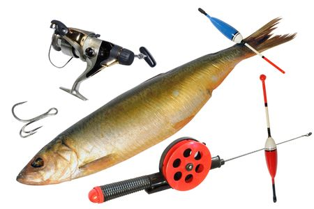Composition with the objects consist of fishing photo