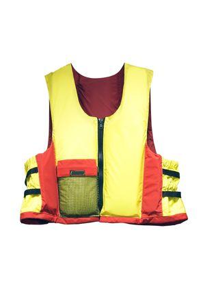 emergency vest: life jacket under the white background Stock Photo