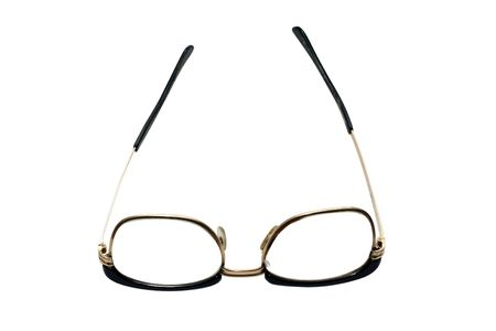 shortsightedness: Old glasses under the white background Stock Photo