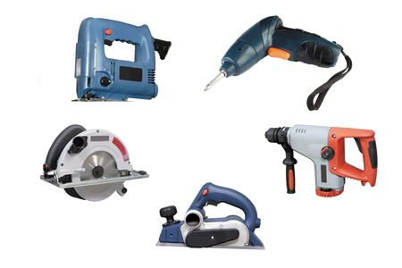 drank: Different kinds of the electric tools under the white background