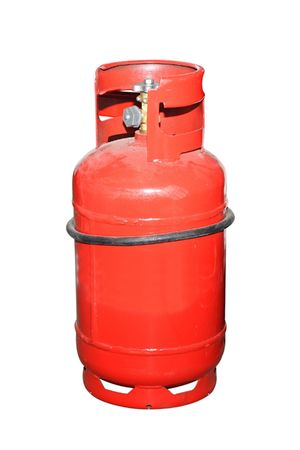 cilindro: botella de gas bajo el fondo blanco Foto de archivo