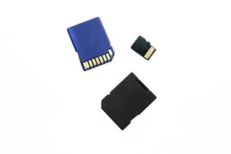storage cards under the white background photo
