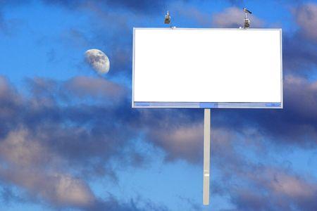 advertising board: advertising board under the moon sky