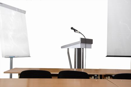 rostrum and microphone in the conference hall