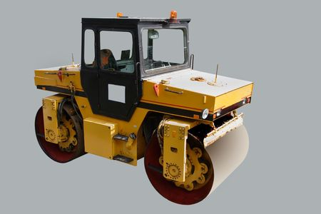 road roller under the grey background photo