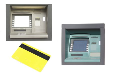 cash dispensers and credit card under the white background photo