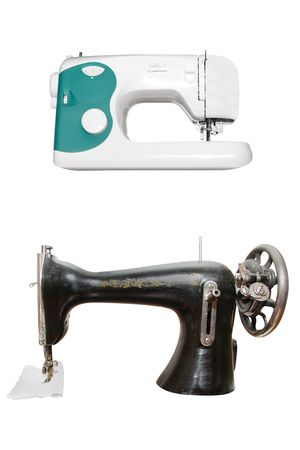 sewing machines under the white background photo