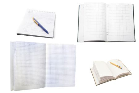 bookish: Several note-books under the white background