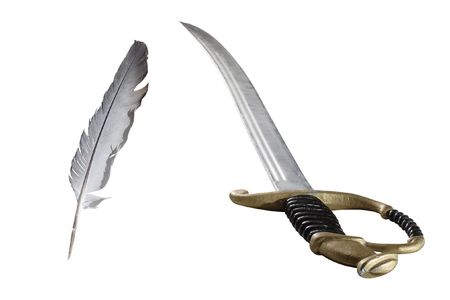 a literary sketch: feather and rapier under the white background