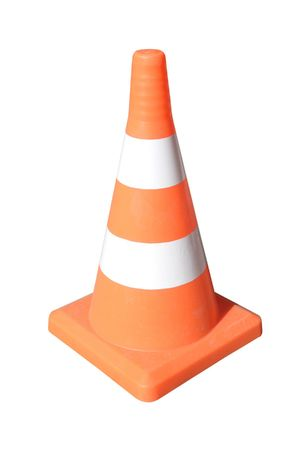 Brightly coloured traffic cone under the white background Stock Photo - 4940767