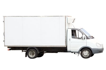 moving crate: van under the white background Stock Photo