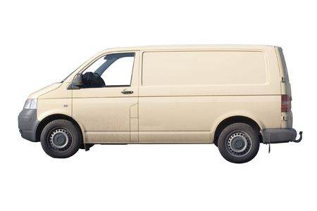 moving crate: Yellow van under the white background Stock Photo