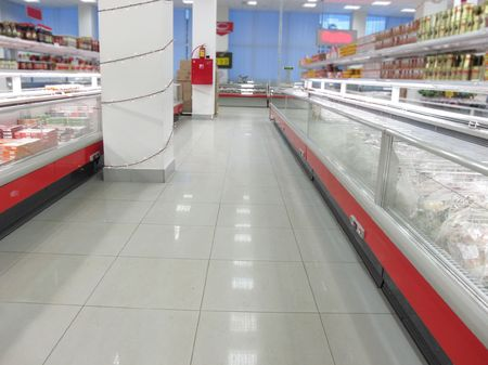 convenient store: the image of a rows in a supermarket