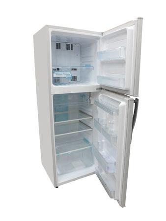 The image of an open refrigerator under the white background