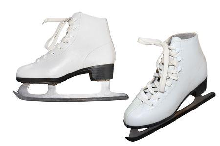 figure skate: skate figura bajo el fondo blanco