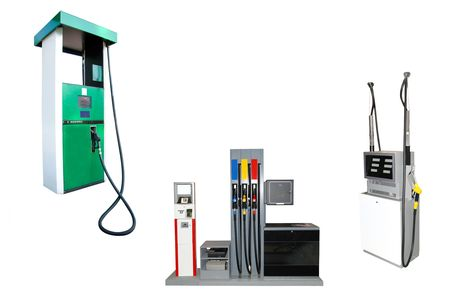 fuelling pump: Image of petrol stations under the white background
