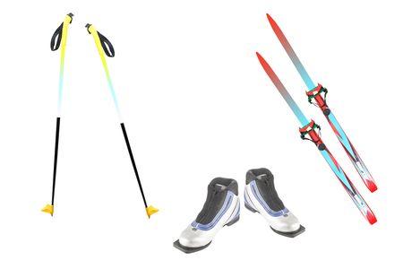 ski walking: ski poles, ski and ski boots under the white background