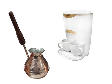 percolator: The image of compact percolator and coffeepot under the white background Stock Photo