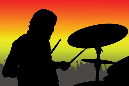 percussionist: Vector illustration of percussionist black silhouette under the color background