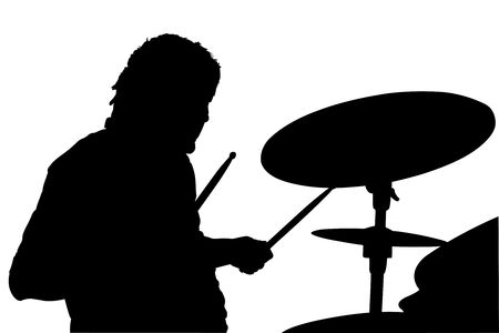 percussionist: illustration of percussionist black silhouette under the white background Stock Photo