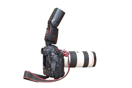 camera with flash under the white background Stock Photo - 6652065
