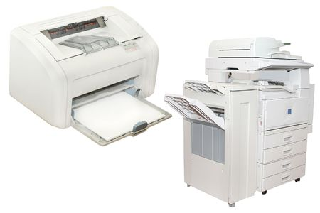 paper screens: inkjet printer and office copying machine under the white background