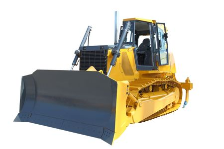 bulldozer under the white background photo