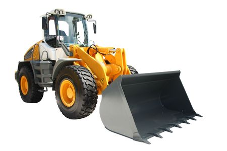 The image of bulldozer under the white background photo