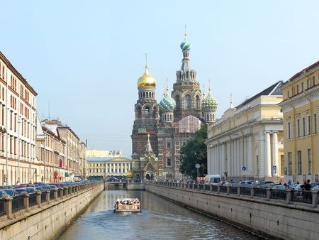 intercession: The image of Church of the Intercession under the blood in St. Peterburg