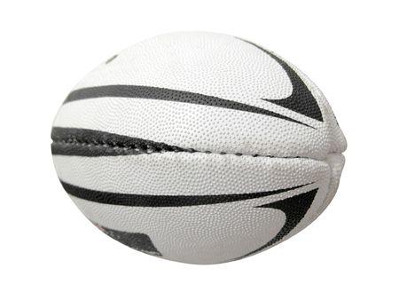 and rugby ball: La imagen de la pelota de rugby bajo el fondo blanco. Foco est� en la parte delantera del bal�n