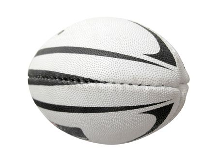 rugby ball: The image of rugby ball under the white background. Focus is under the front part of ball Stock Photo