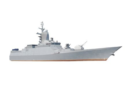 turrets: Military ship under the white background