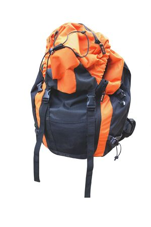 The image of rucksack under the white background photo