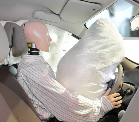 eye test: The image of mannequin in a car after crash-test