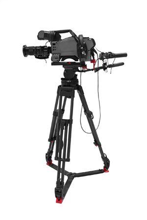 La imagen de la cámara de vídeo bajo el trípode